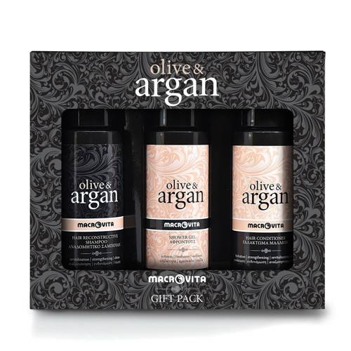 ZESTAW MACROVITA OLIVE & ARGAN: szampon 100ml + odżywka 100ml + GRATIS żel pod prysznic 100ml